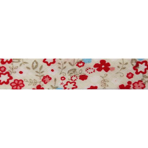 Косая бейка с принтом 'Полевые цветы' 15мм*65,8м (х/б)