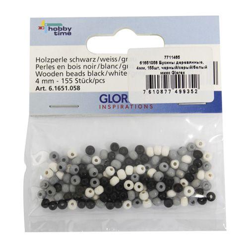 61651058 Бусины деревянные, микс черный/серый/белый, 4 мм, упак./155 шт., Glorex