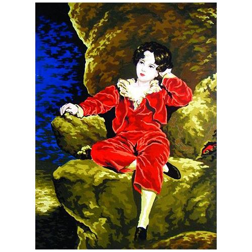 10456-CDA Канва с рисунком Collection D`Art 'Мальчик на кресле' 40*50 см