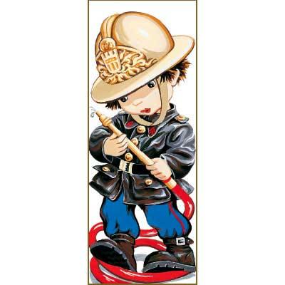 9880-0137-0098-1 Канва с рисунком Royal Paris 'Пожарник' 49х19 см