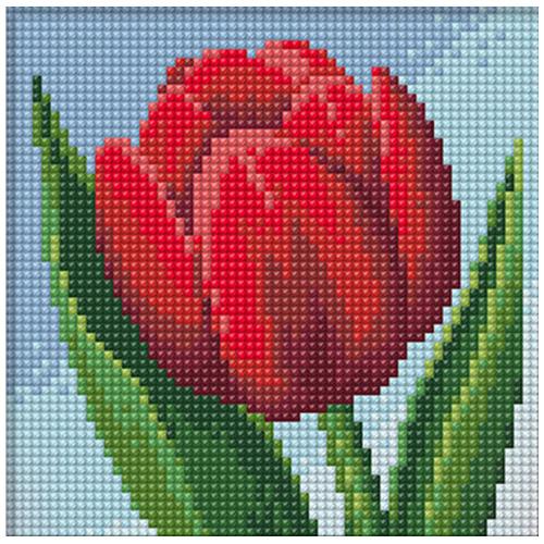 АЖ-1634 Картина стразами 'Красный тюльпан' 15*15см