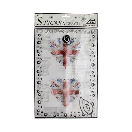 KS-MOSM001 Термоаппликация из страз 'Британский флаг-сердце', металлик, 11*12см Ki Sign