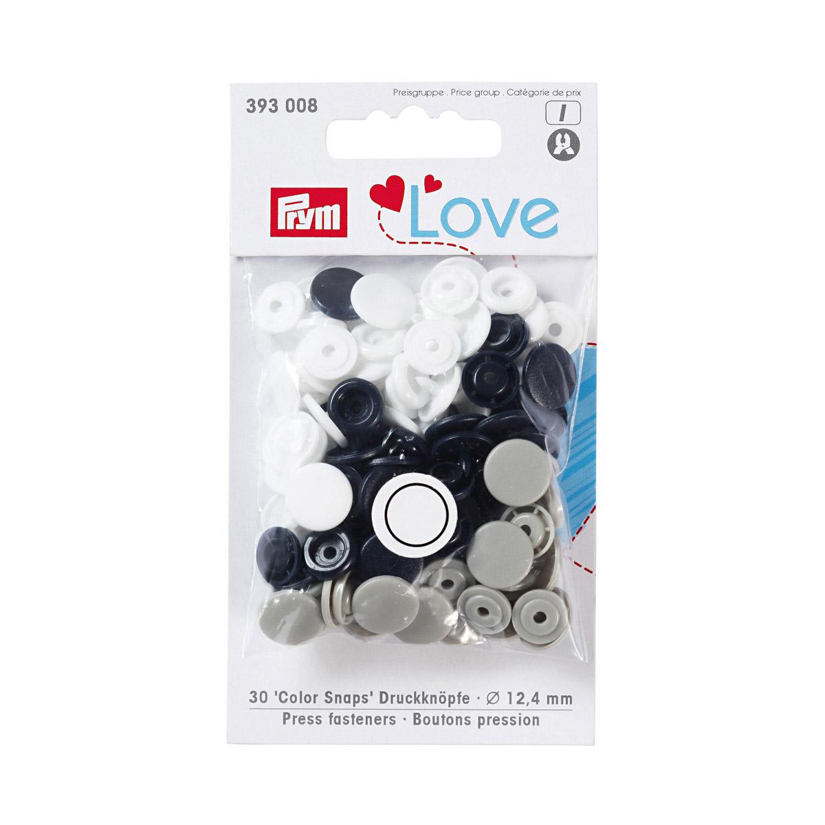 393008 Kнопки Color Snaps PrymLove, белый/серый/морской волны цв., 12мм, 30шт Prym