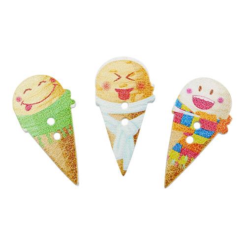 HY070456 Пуговицы деревянные, Мороженое микс, 100 шт