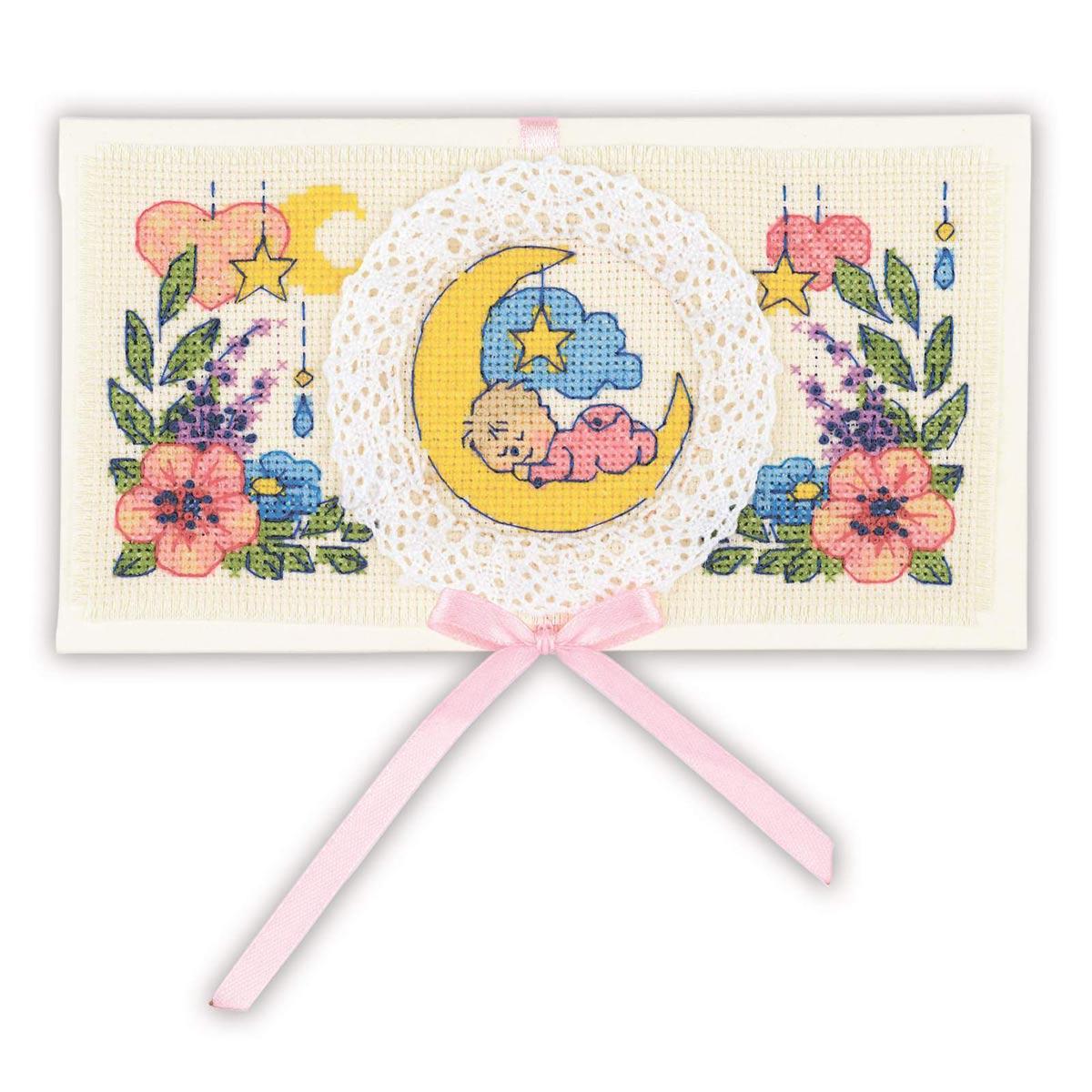 1893АС Набор для вышивания Риолис 'Конверт 'С рождением малыша'16*9см