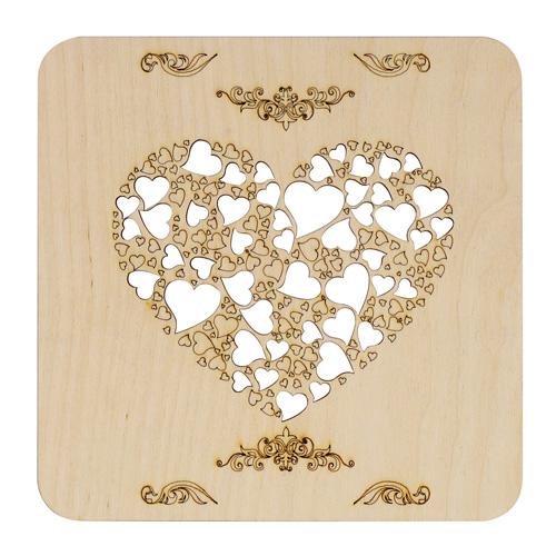 L-1071 Деревянная заготовка подставка под горячее 'Сердце' 15,0*15,0см АСТРА