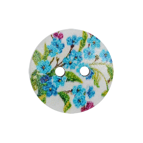 HY070470 Пуговицы деревянные круглые 15 мм Цветочки голубые, 100 шт