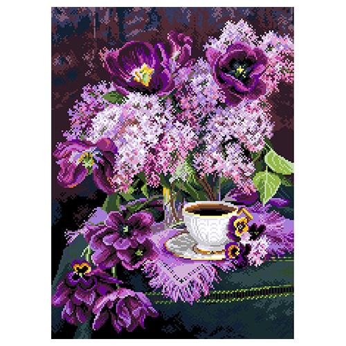 1888 Канва с рисунком Матренин посад 'Утро в сирени' (30*41см) 37*49см