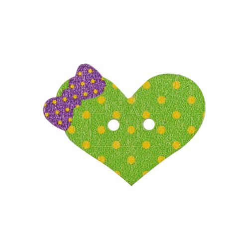 HY070474 Пуговицы деревянные, Сердечко зелёное
