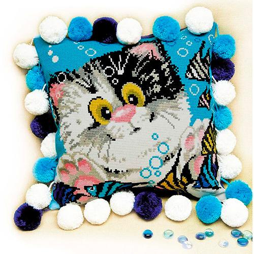 1100 Набор для вышивания Riolis 'Подушка 'Котёнок', 30*30 см
