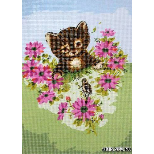 9880.0131.0154 Канва с рисунком Royal Paris 'Котенок и цветы' 22*30 см