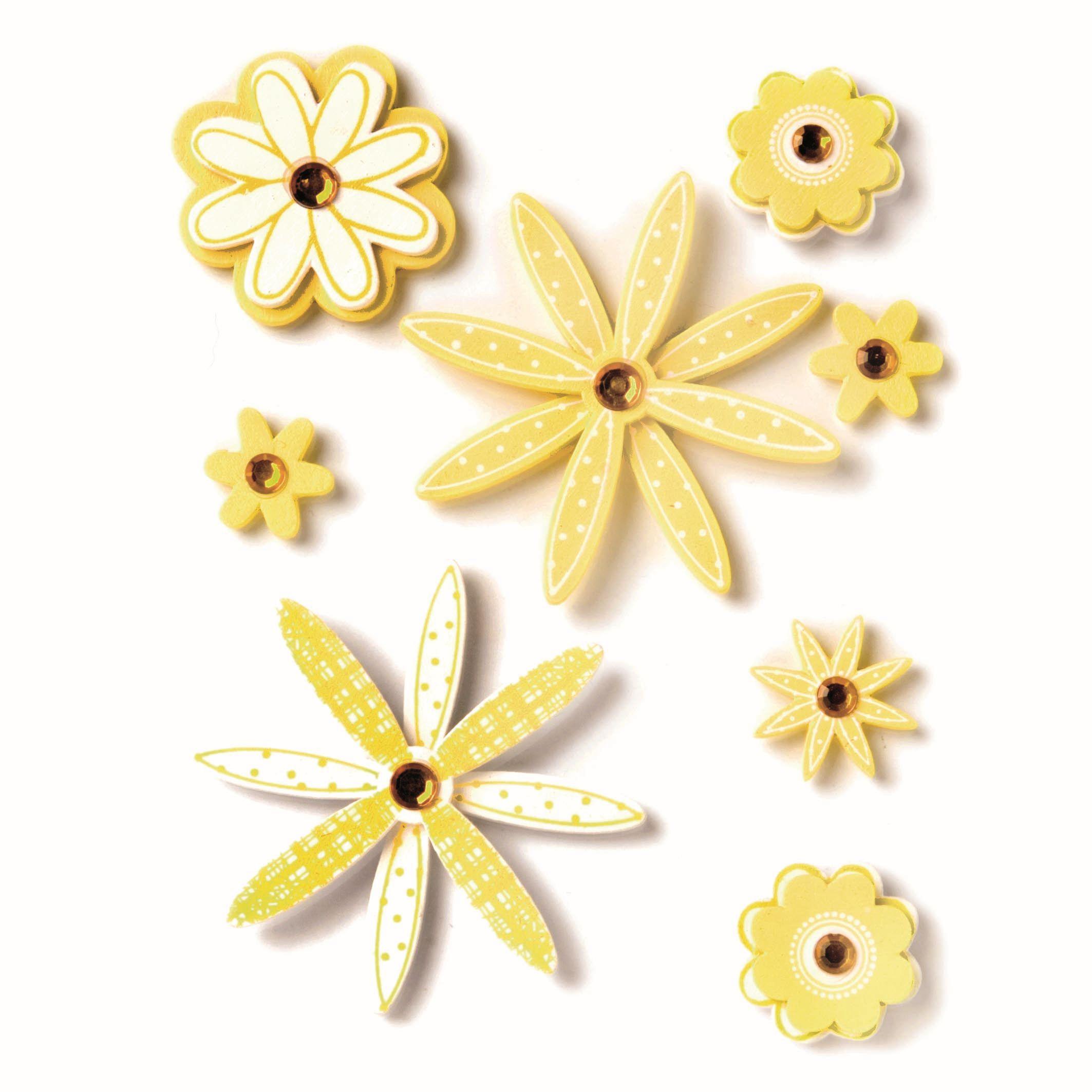 61710028 Фигурки из дерева Цветок 8шт желтый Glorex