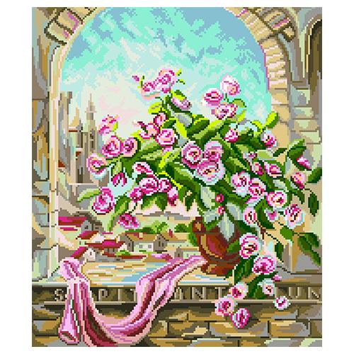 1887 Канва с рисунком Матренин посад 'Розовый куст' (34*35) 41*41см