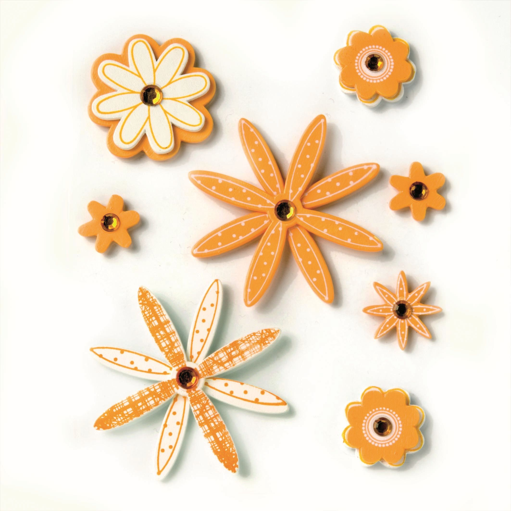 61710029 Фигурки из дерева Цветок 8шт оранжевый Glorex