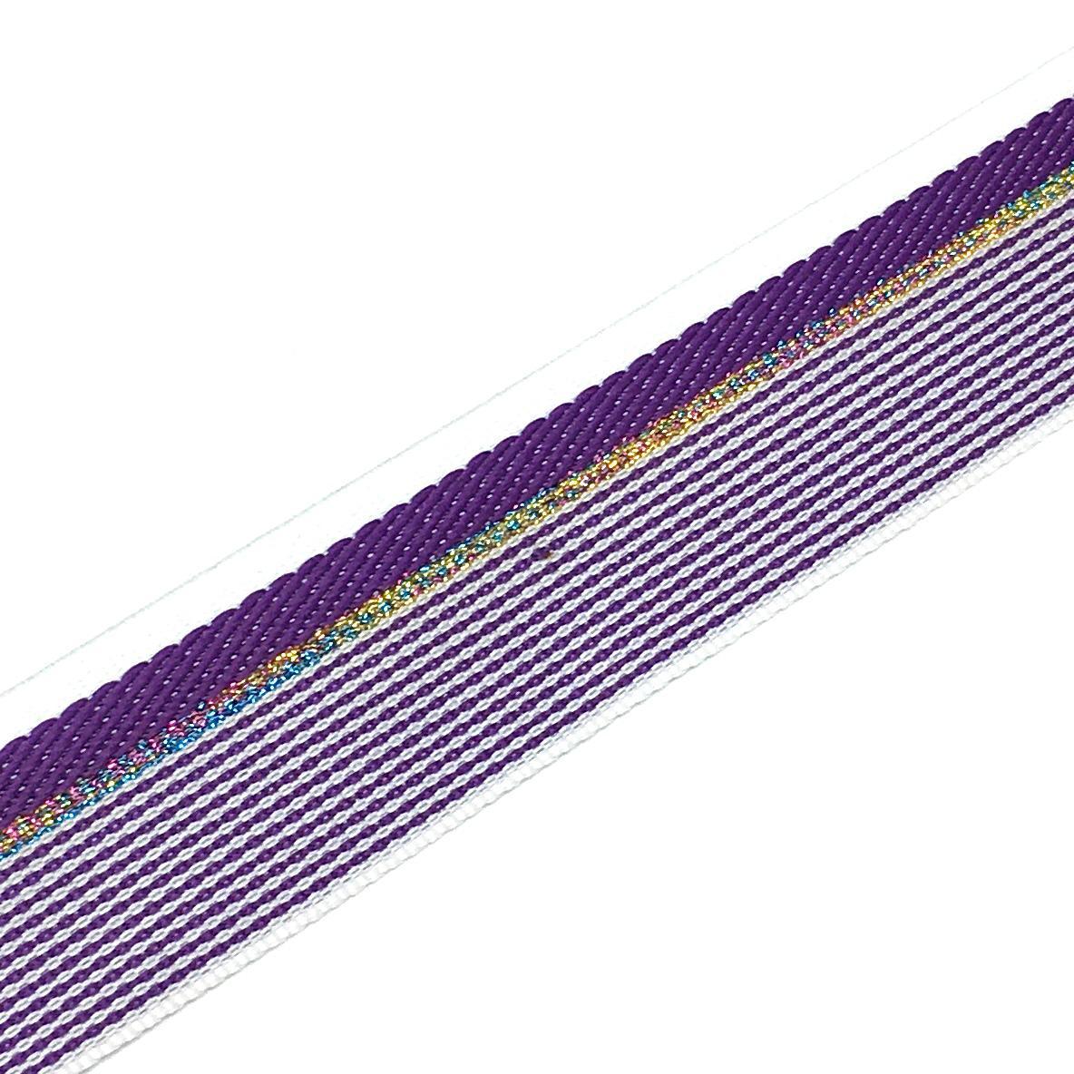 Тесьма фиолетовый белый строчка люрекс 2,8см 1 метр