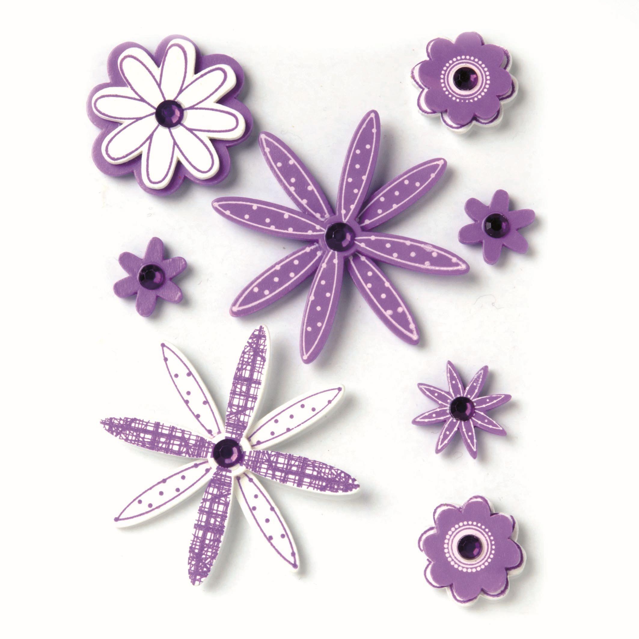 61710030 Фигурки из дерева Цветок 8шт лиловый Glorex