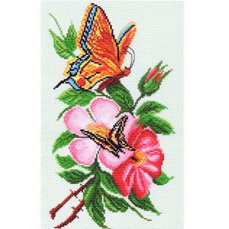 1065 Канва с рисунком 'Бабочка на цветке' 24*35см.(28*37см) (МП)