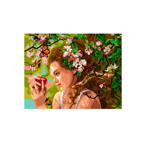 9880-0158-0109 Канва с рисунком Royal Paris 'Девушка с яблоком' 48х62 см