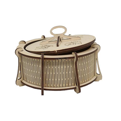 L-883 Деревянная заготовка шкатулка круглая на 8 подставках 13,5*9 см 'Астра'