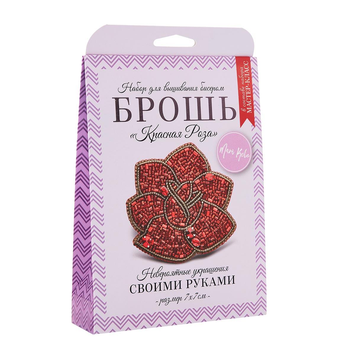 НБР-18012 Набор для вышивания бисером: Брошь «Красная роза».