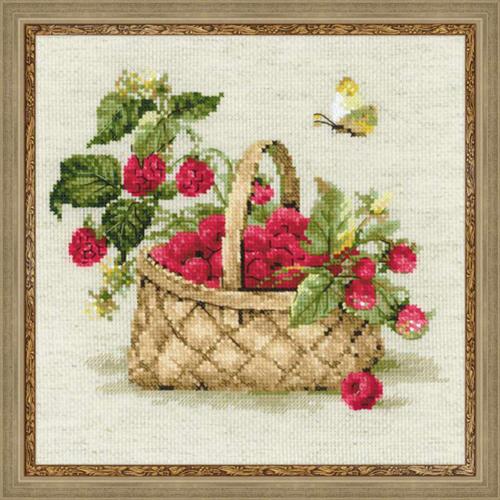 1448 Набор для вышивания Riolis 'Малина в лукошке', 30*30 см
