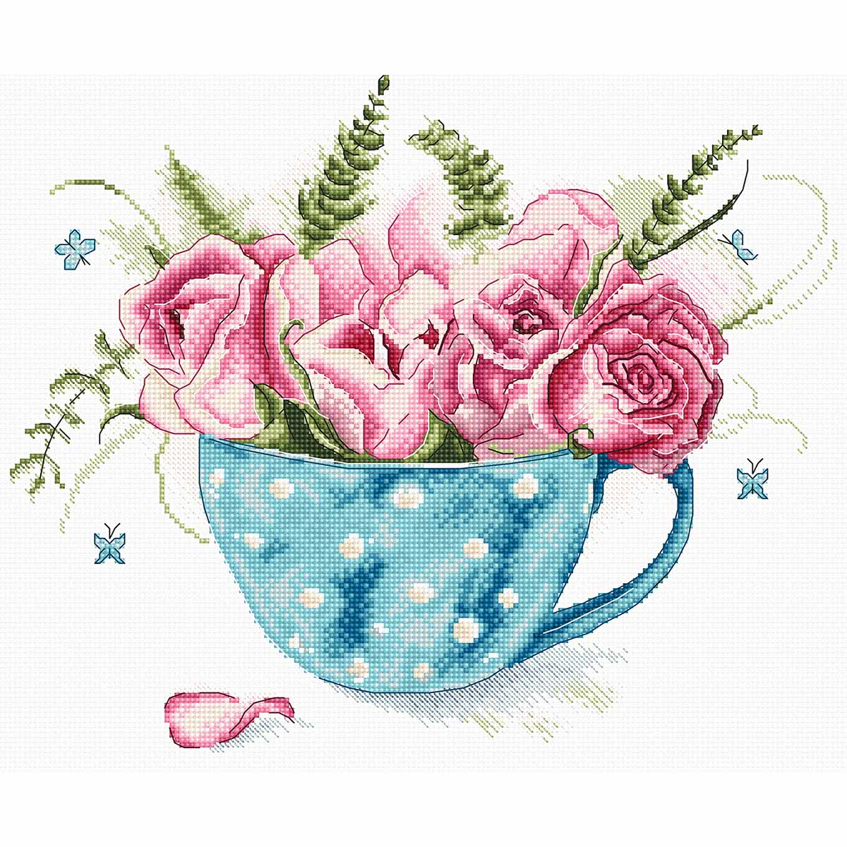 Leti916 Набор для вышивания LetiStitch 'Чашка роз' 23*19см