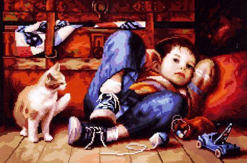 0047 Набор для вышивания Nitex 'Счастливое детство', 44х29 см