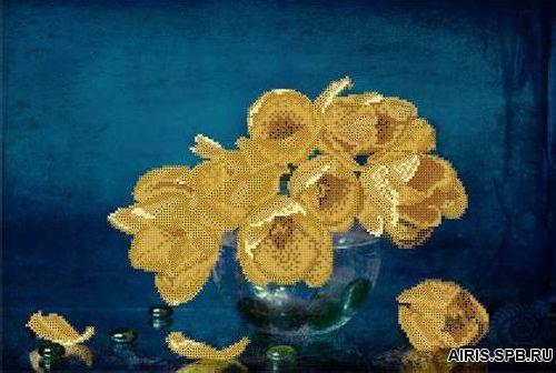 70018 Канва с рисунком Gluriya 'С желтыми тюльпанами' 42*27,7 см