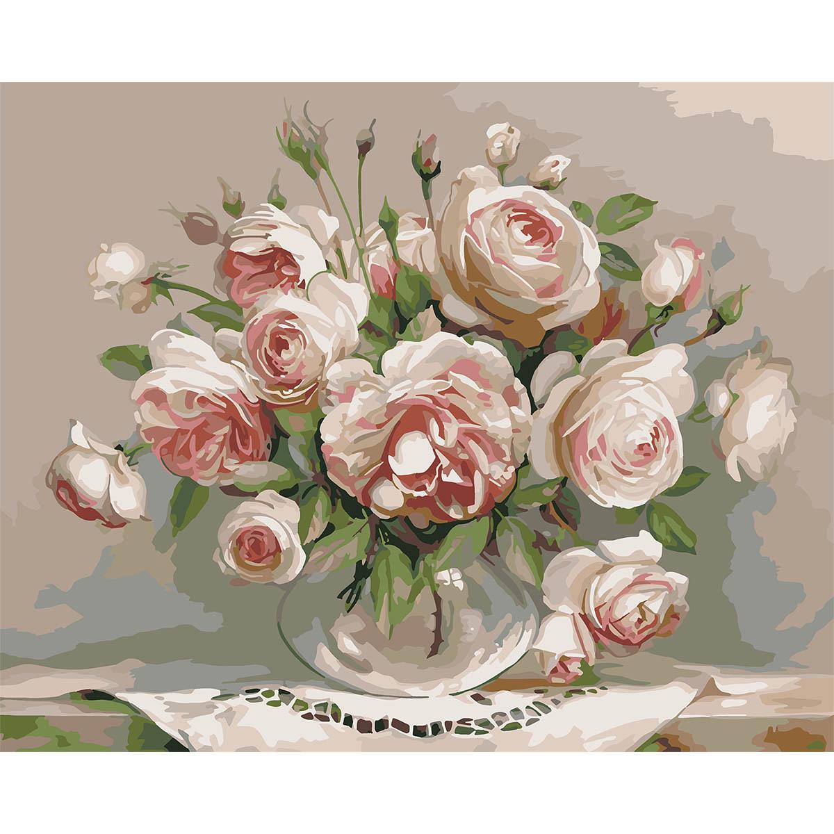 HB006 Набор для рисования по номерам ' Пионовидные розы ' 40*50см
