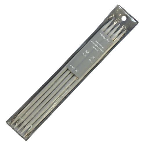 940560 Спицы носочные алюминиевые с покрытием 20см, 6,0мм Hobby&Pro