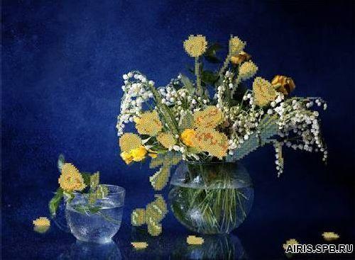70022 Канва с рисунком Gluriya ' С розами и ландышами' 42*27,7 см