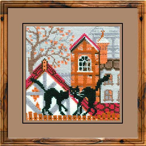 613 Набор для вышивания Riolis 'Город и кошки. Осень', 13*13 см