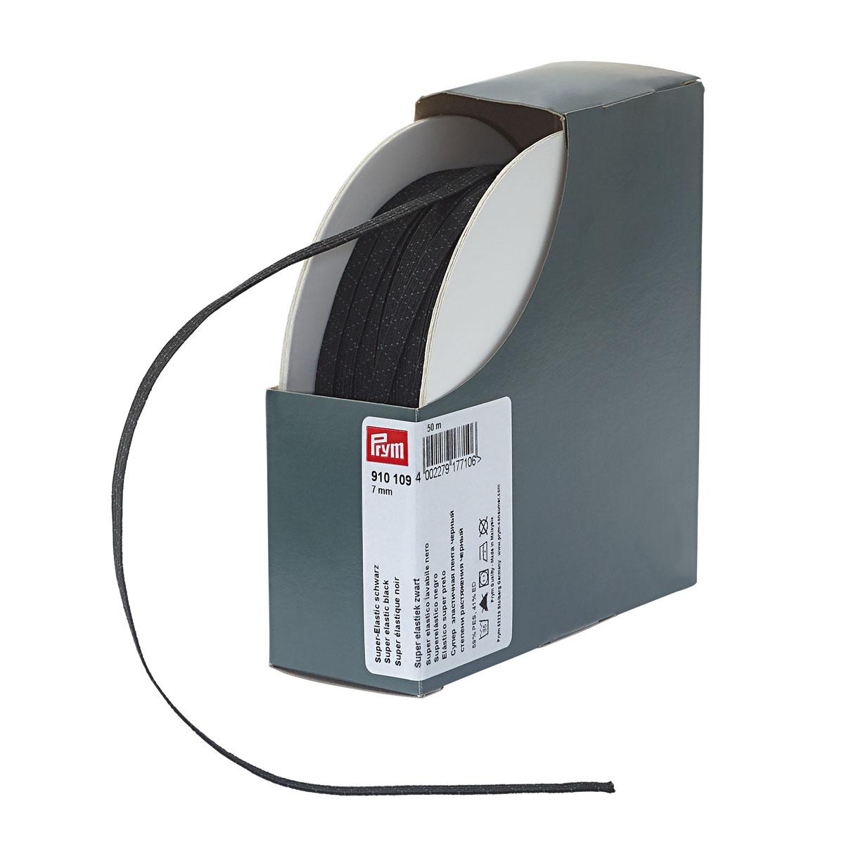 910109 Супер эластичная лента плетеная 7 мм*50м, черный цв. Prym