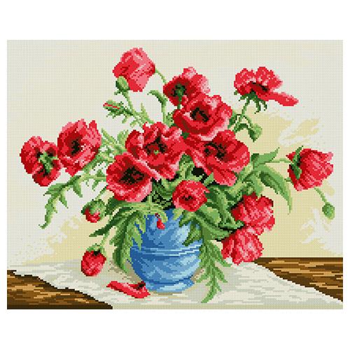 АЖ-1028 Картина стразами 'Алмазная живопись' 'Красные маки', 56*45 см