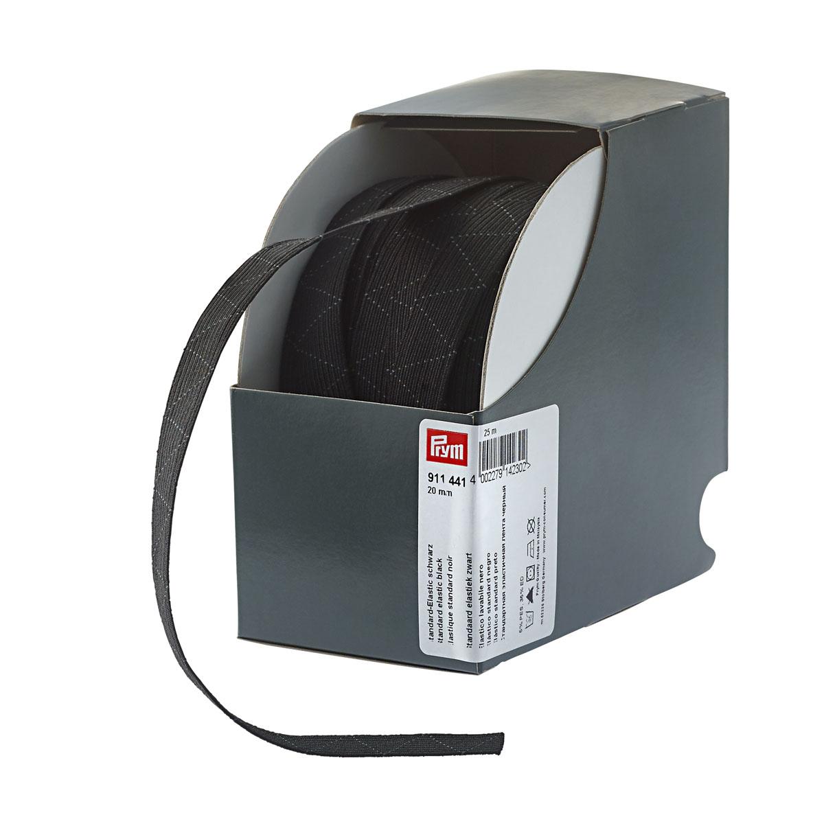 911441 Стандартная эластичная лента плетеная 20 мм*25м черный цв. Prym
