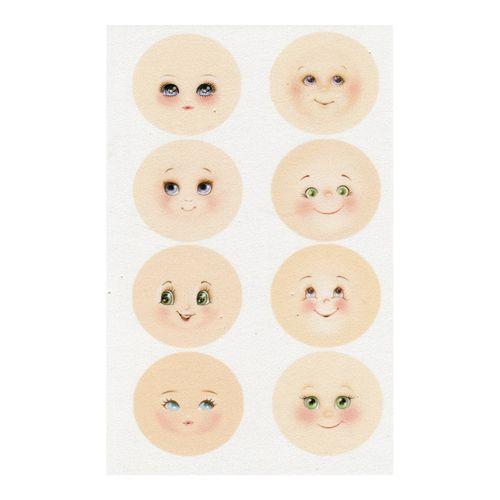 GDMIN01 Фоамиран с принтом 'Кукольное лицо 1', d 45 мм, 12*20 см, 8 шт. на листе, Renkalik
