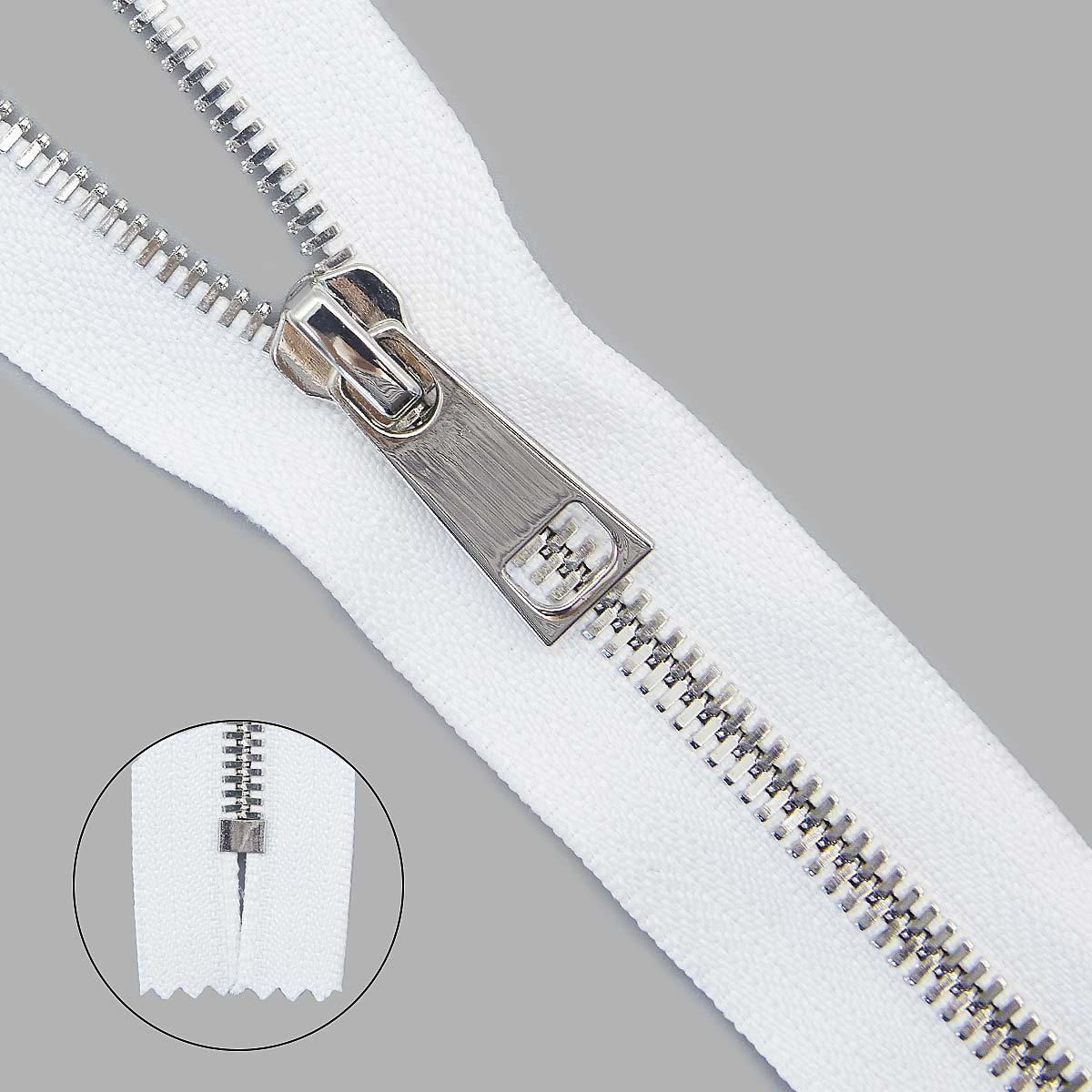 Молния металл №5СТ никель н/р 18см D501 белый, 2135001350002