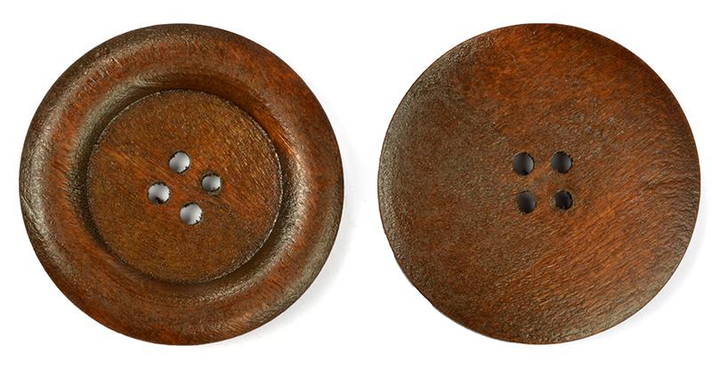 Пуговицы деревянные TBY BT.WD.229 цв.коричневый 54L-34мм, 4 прокола, 20 шт, BTWD229