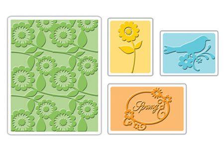 656690 Форма для эмбоссирования Весна Птичка Цветы 4 шт Textured Impressions