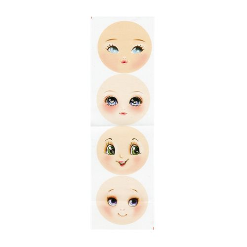 GDVIG02 Фоамиран с принтом 'Кукольное лицо 2', d 95 мм, 4 шт. на листе, 12*40 см, Renkalik