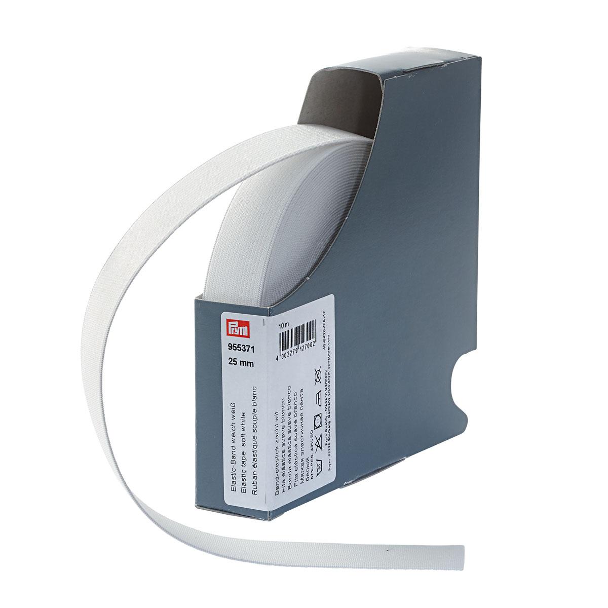 955371 Мягкая эластичная лента 25 мм*10м белый цв. Prym