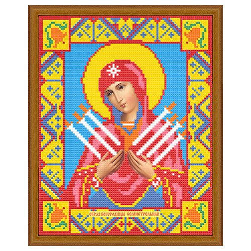 АЖ-2009 Картина стразами 'Алмазная живопись' 'Икона Семистрельная Богородица', 22*28 см