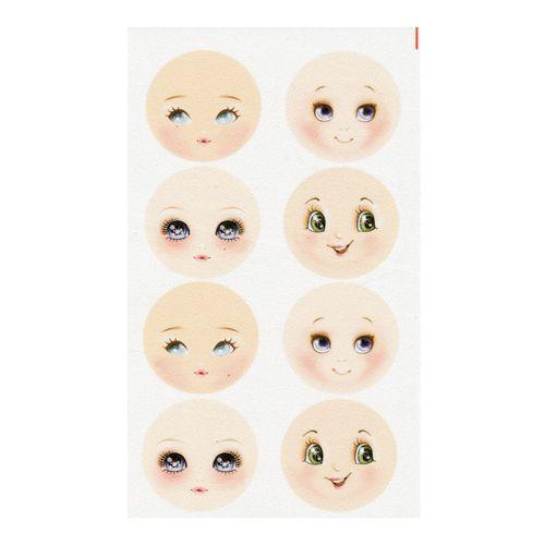 GDVIP01 Фоамиран с принтом 'Кукольное лицо 1', d 45 мм, 8 шт. на листе, 12*20 см, Renkalik