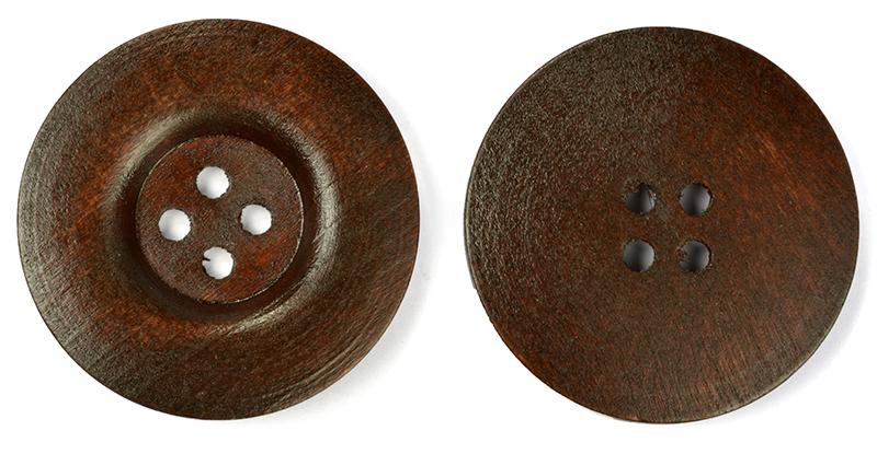 Пуговицы деревянные TBY BT.WD.264 цв.коричневый 64L-40мм, 4 прокола, 20 шт, BTWD264