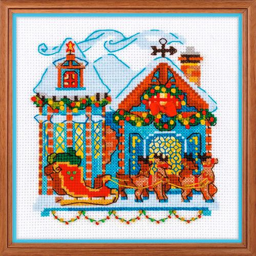 1661 Набор для вышивания Риолис 'Домик с санями' 15*15см