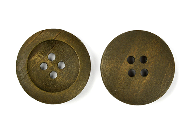 Пуговицы деревянные TBY BT.WD.282 цв.хаки 36L-23мм, 4 прокола, 20 шт, BTWD282
