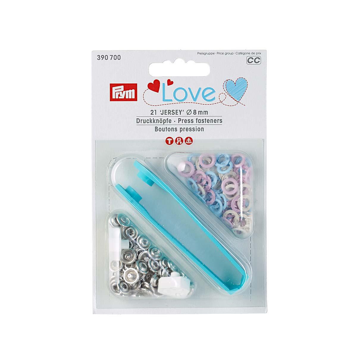 390700 Кнопки Джерси Prym Love роз/син/пер цв, 8мм, 21шт/упак, Prym