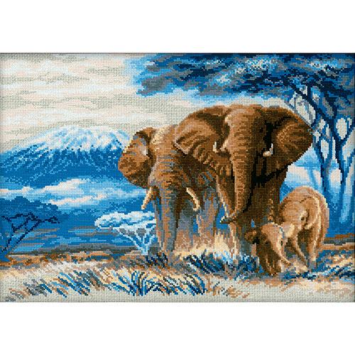 1144 Набор для вышивания Riolis 'Слоны в саванне', 40*30 см
