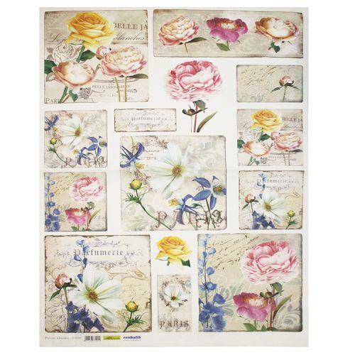 QSIPM019M Декупажная бумага рисовая 'Ботаника', плотность 25 гр./кв.м, 50х70 см, Renkalik