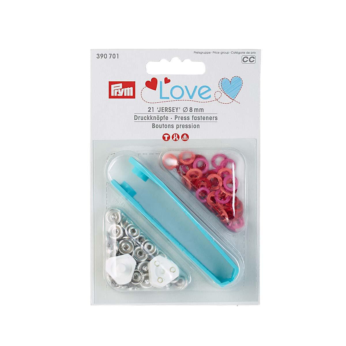 390701 Кнопки Джерси Prym Love красный цв, 8мм, 21шт/упак, Prym